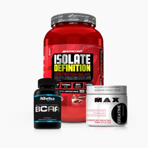 Isolate Definition 900g + Creatina Max 150g + BCAA Pro Series 120caps