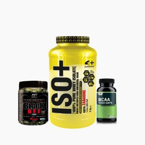 Iso+ (2000g) + BCAA ON (60caps) + Black Bee (60caps) - 4 Plus Nutrition