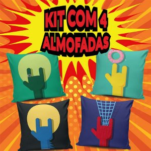 Kit 4 Almofadas Rock Heros