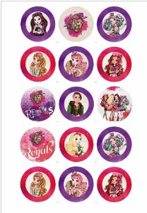 EVER AFTER HIGH MEDALHÃO PERSONAGENS VARIADOS 5 CM - 15 UNIDADES