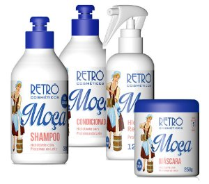 Retrô Moça Kit Completo (Shampoo 300ml + Condicionador 300ml + Máscara 250g + Spray 120ml) - 4 Produtos