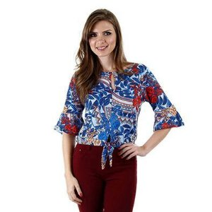 Blusa viscose estampada - 44875 - Cereja Rosa