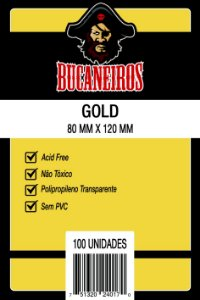 Sleeves 80 x 120 mm (Gold) – Bucaneiros