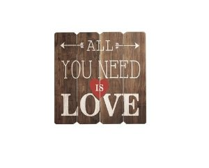 Placa Decorativa de Madeira - All You Need Is Love
