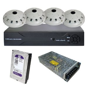 Kit CFTV IP Dvr 4 Canais 4 Câmeras IP Panorâmica 360° Fisheye 1.3MP 960p + HD 1 Terabyte