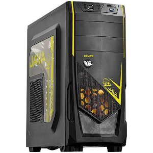 GABINETE MID-TOWER JAVA COM 1 FAN LED AMARELO LATERAL EM ACRILICO - JAVAPTOAM2FCA - PCYES
