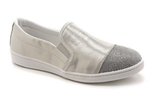 Slip On Marina Mello - Cristal Off White | Strass Prata