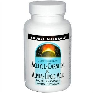 Acetyl L-Carnitina & Ácido Alfa-Lipóico, Source Naturals, 650 mg, 120 Tablets