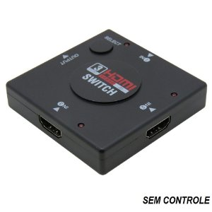 Adaptador Hub Switch 3 Portas HDMI 3x1 Full HD 1080p