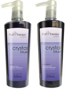 Left - Fruit Therapy Crystal Blue Kit Shampoo 500ml + Gloss 500ml Matizador VENCIMENTO 11/2017