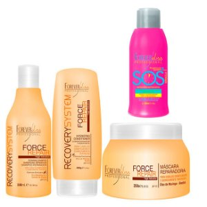 Forever Liss - Force Repair Kit Shampoo, Condicionador e Máscara Reconstrução Capilar Home Care + SOS Antiemborrachamento