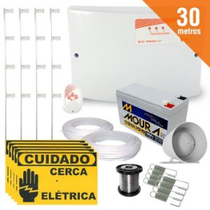 Kit Cerca Elétrica Completo P/ 30 Metros de Muro Central GCP 10000 Light - SecuriService
