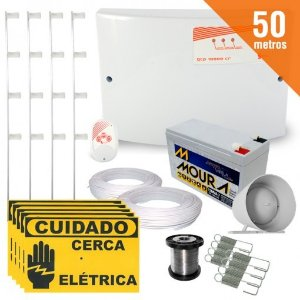 Kit Cerca Elétrica Completo P/ 50 Metros de Muro Central GCP 10000 Light - SecuriService