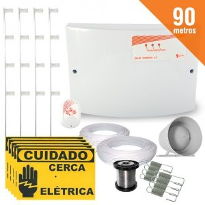 Kit Cerca Elétrica Completo P/ 90 Metros de Muro Central GCP 10000 Light - SecuriService