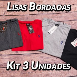 Kit 3 UN - Camiseta Gola Redonda Lisa