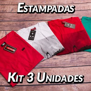 Kit 3 UN - Camiseta Estampadas Premium