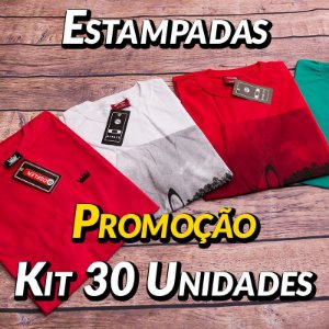 Kit 30 UN - Camiseta Estampadas Premium