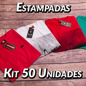 Kit 50 UN - Camiseta Estampadas Premium