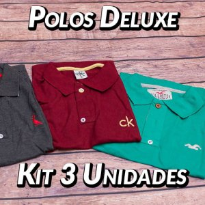 Kit 3 UN - Camiseta Polo Luxo Masculina