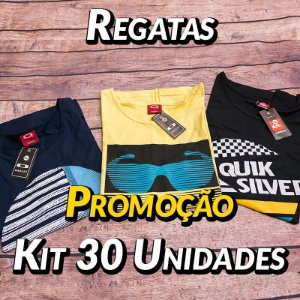 Kit 30 UN - Camiseta Regata Estampada
