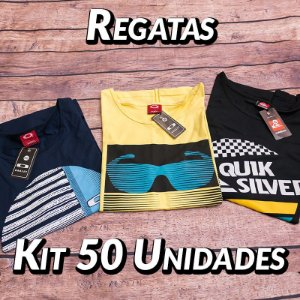 Kit 50 UN - Camiseta Regata Estampada
