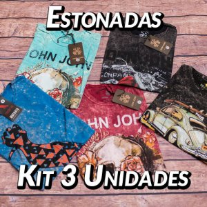 Kit 3 UN - Camiseta Estonadas ( Lavadas )