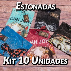 Kit 10 UN - Camiseta Estonadas ( Lavadas )