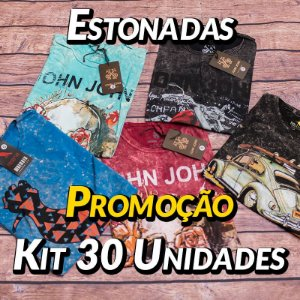 Kit 30 UN - Camiseta Estonadas ( Lavadas )