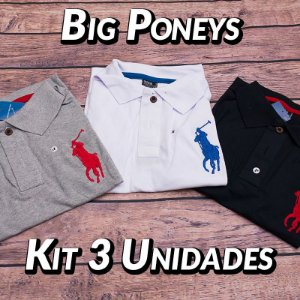 Kit 3 UN - Camiseta Polo Ralph Lauren Masculina