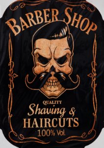 Placa Decorativa Retrô - Barber Shop Shaving e Haircut