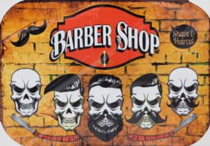 Placa Decorativa Retrô - Barber Shop 5 Mans