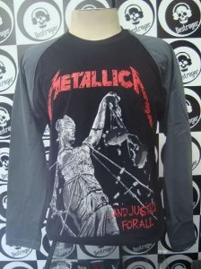Camiseta Manga Longa Raglan - Metallica - And Justice for all