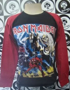 Camiseta manga longa Raglan - Iron Maiden - The Number of the Beast
