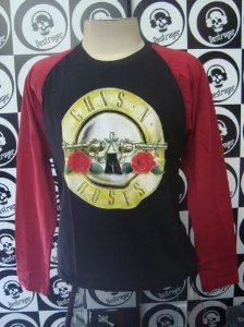 Camiseta manga longa Raglan - Guns and Roses