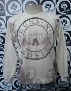 Camiseta manga longa toda estampada - Guns and Roses - Bege