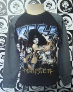 Camiseta Manga Longa Raglan - Kiss - Monster