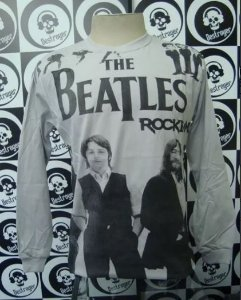 Camiseta Manga Longa toda estampada - The Beatles - Cinza