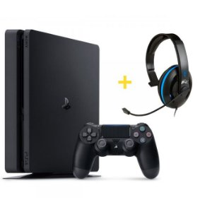 Console Playstation 4 Slim 500GB + Headset Ear Force P4C com Microfone - Turtle Beach