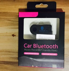 Bluetooth 3.0 Car Audio Music Receiver with Handsfree Function Mic  -  WHITE USB CABLE  BLACK