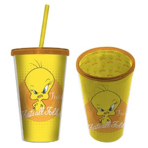 Copo com Canudo 300ml - Looney Tunes - Mad Tweety
