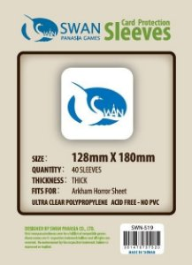 Sleeves Swan Panasia Games 128x180mm - Custom Made for ARKHAM HORROR SHEET - THICK com 40 Protetores de carta