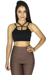 Top Tiras Strappy Fitness Preto