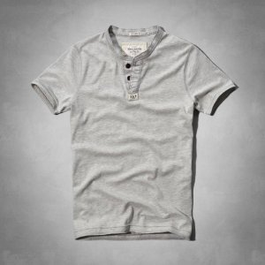 Camiseta Abercrombie & Fitch Masculina Connery Pond Henley - Light Grey