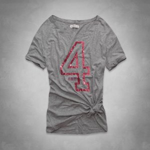 Camiseta Abercrombie & Fitch Feminina Camille Shine Tee - Heather Grey