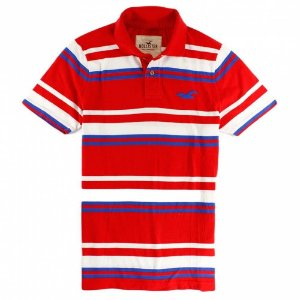 Polo Hollister Masculina Capistrano - Red Stripes