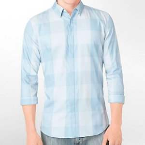 Camisa Calvin Klein Masculina Body Slim Fit Plaid Shirt - Light Blue