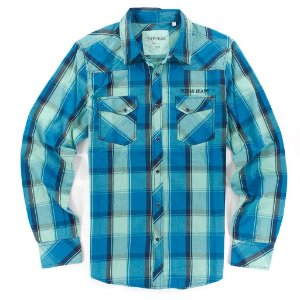 Camisa Guess Masculina Associate Western Plaid - New Lagoon