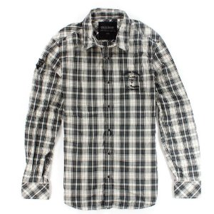 Camisa Guess Masculina Brody Plain Plaid - Jet Black
