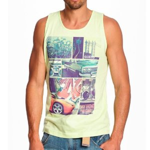 Regata Guess Masculina Kyson Print Tank - Lime Squeeze