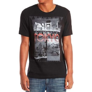 Camiseta Guess Masculina Nelson Destination Print Crew - Jet Black